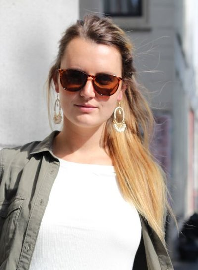 Green Ibiza style statement hoop earrings
