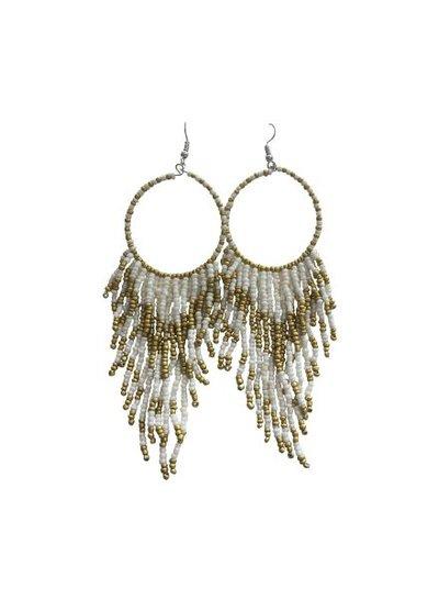 Long white boho chique statement earrings