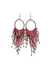 Long pink boho chique statement earrings