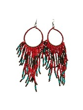 Long red boho chique statement earrings
