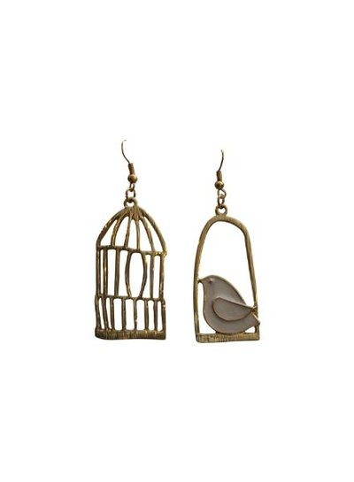 Fun gold colored asymmetrical statement earrings
