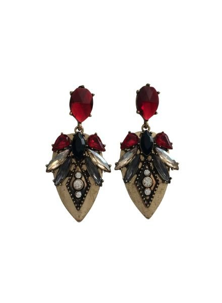 Red boho chique statement earrings