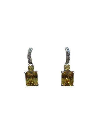 Elegante statement oorbellen met gele steentjes