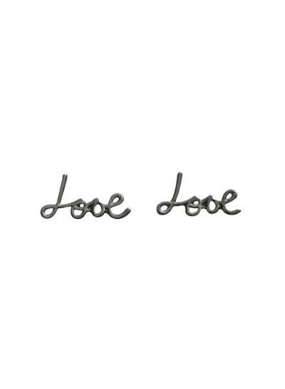 Minimalistische love statement oorbellen zilver