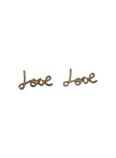 Minimalistische love statement oorbellen goud