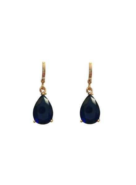 Elegant gold colored drop statement earrings blue