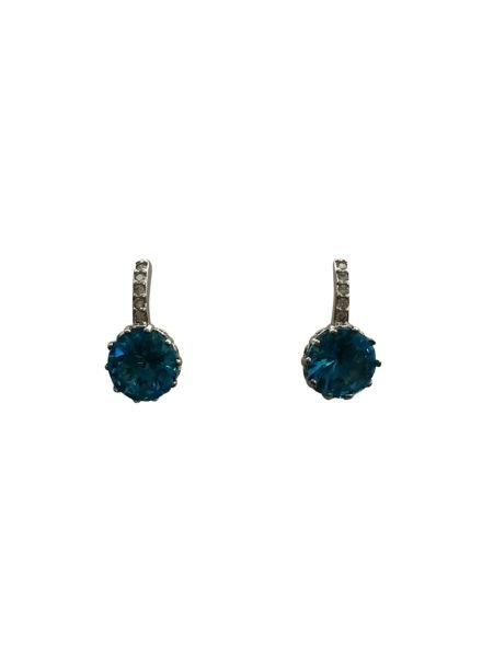 Elegant round statement earrings blue