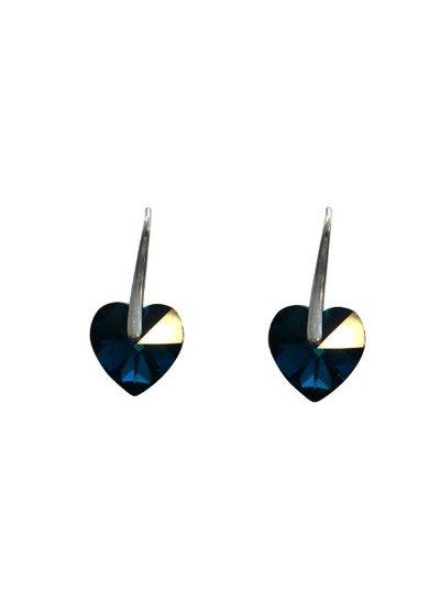 Coole hartvormige statement oorbellen metallic