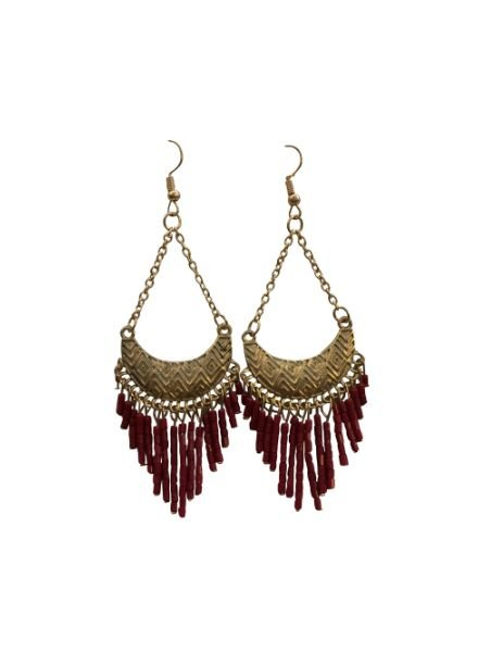 Cute red boho chic statement earrings