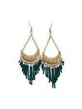 Cute green boho chic statement earrings