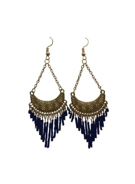 Cute blue boho chic statement earrings