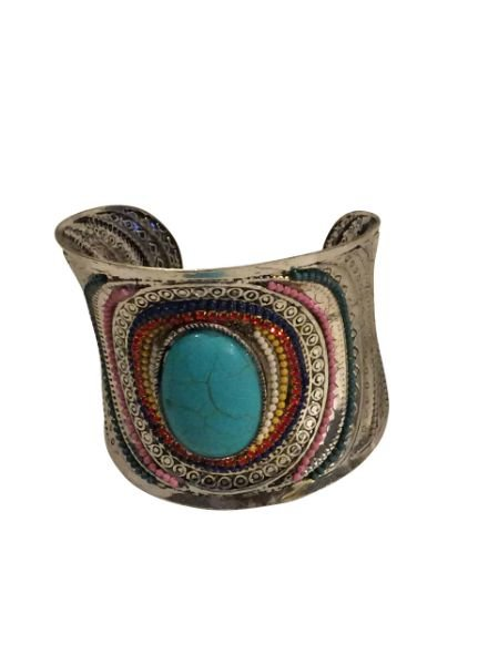 Vintage boho statement cuff bracelet with turquoise stone
