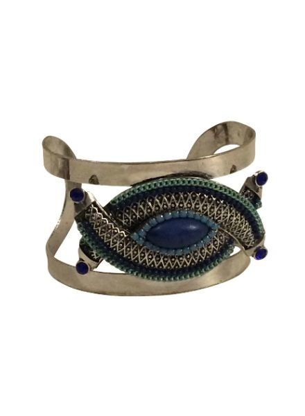 Unique blue vintage bohemian chique statement cuff bracelet