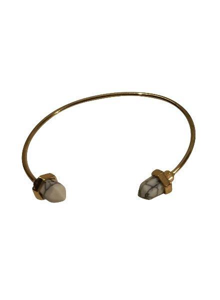 Boho chique statement cuff armband met witte stenen