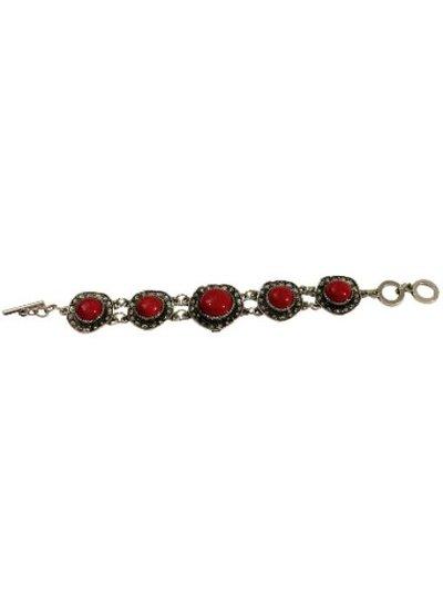 Red vintage bohemian statement bracelet