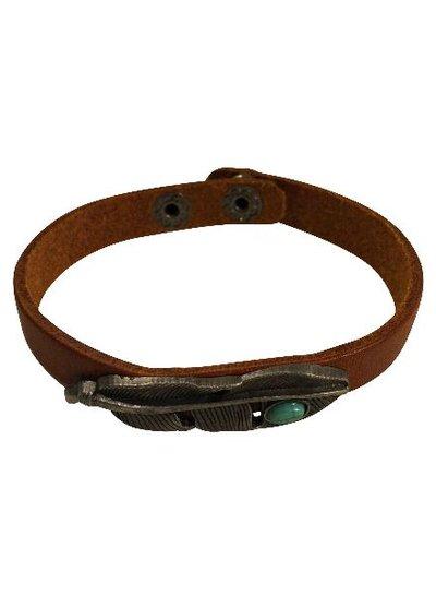 Leren bohemian statement armband met veer