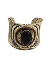 Vintage boho statement cuff armband met zwart steen