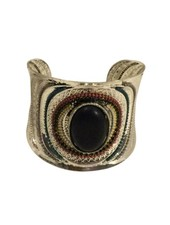 Vintage boho statement cuff bracelet with black stone