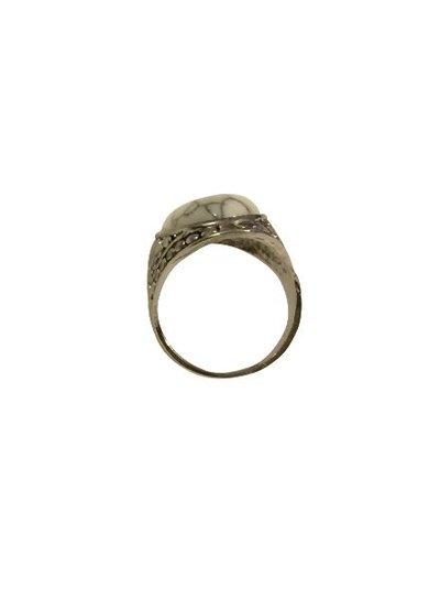 Ibiza stijl boho statement ring met witte steen