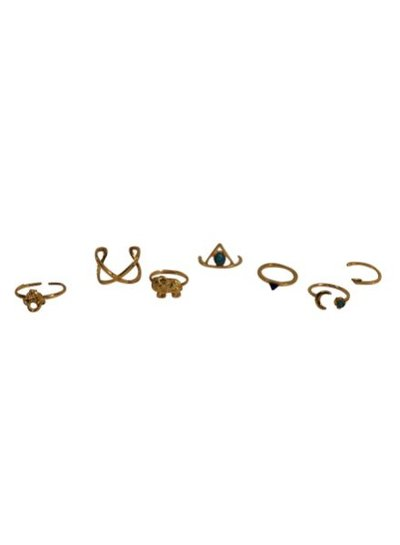 Gold colored boho chique statement rings 7 pcs