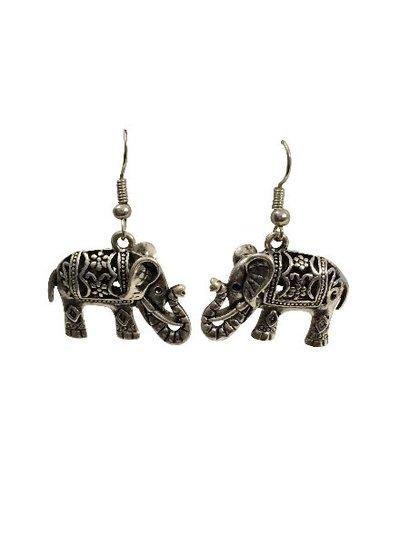 Cute vintage boho elephant statement earrings