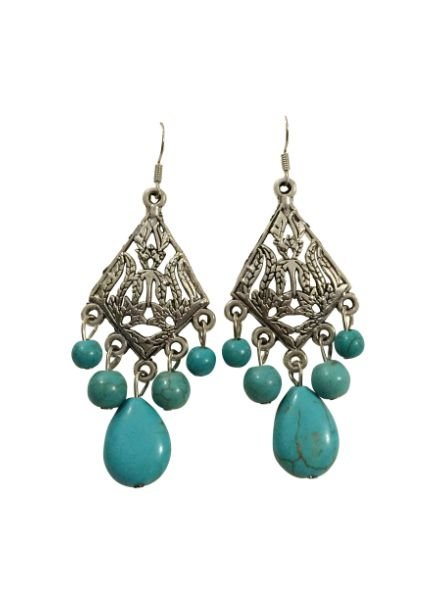 Diamond shaped boho chique statement earrings with turquoise stones
