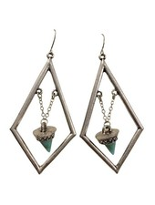 Diamond shaped silver colored bohemian statement earrings