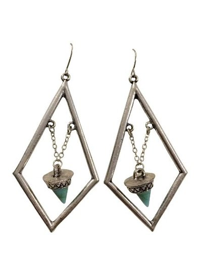 Diamond shaped silver colored bohemian statement earrings