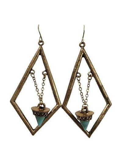 Diamond shaped gold colored bohemian statement earrings