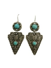 Cool silver colored boho warrior statement earrings