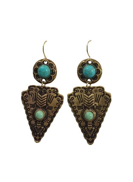 Cool Gold Colored Boho Warrior Statement Earrings