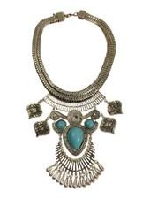 Vintage bohemian statement ketting met turquoise stenen