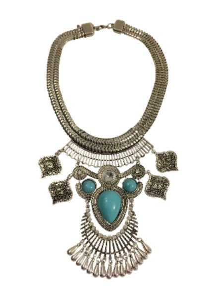 Vintage bohemian statement necklace with turquoise stones