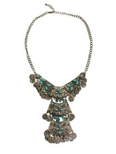 Unieke boho chique statement ketting met turquoise steentjes