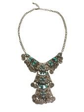 Unique boho chique statement necklace with turquoise stones