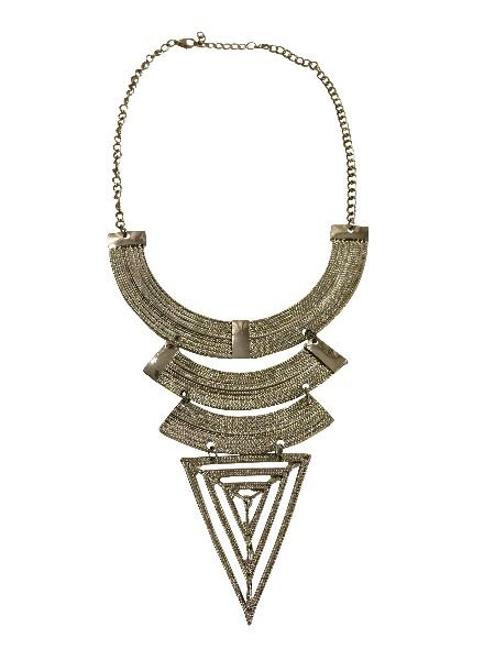 Silver colored bohemian warrior statement necklace