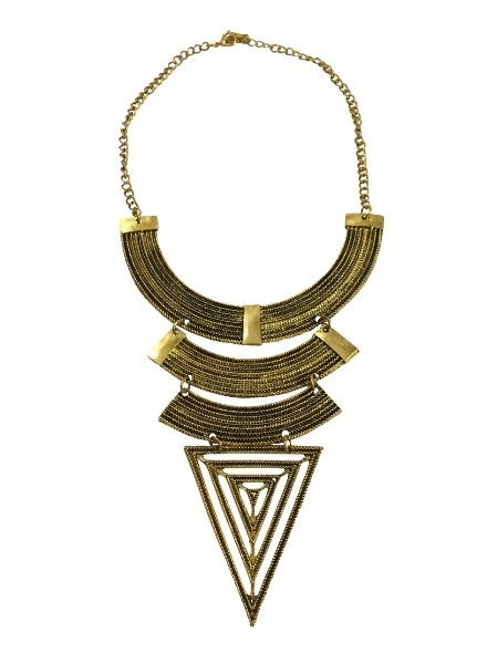 Gold colored bohemian warrior statement necklace