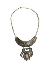 Gorgeously detailed silver colored boho statement necklace