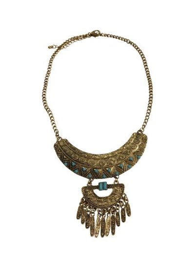 Gorgeously detailed gold colored boho statement necklace