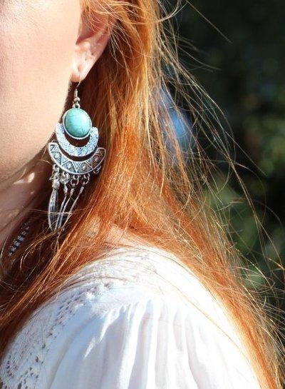Long boho chique statement earrings Ibiza style
