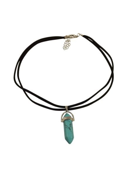 Minimalistic statement choker necklace with turquoise bullet stone
