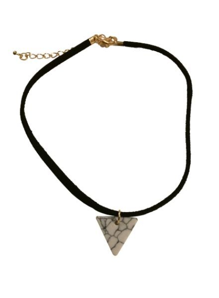 Minimalistic statement choker necklace with white triangle