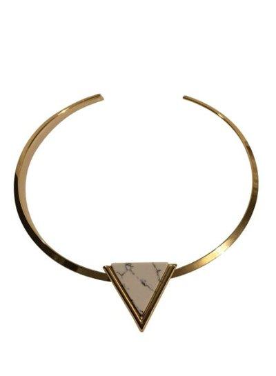 Minimalist chic statement choker necklace with white triangle
