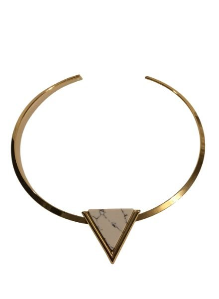 Minimalist chic statement choker necklace with white triangle