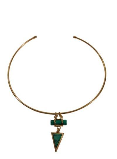 Minimalist chic statement choker ketting met turquoise driehoek