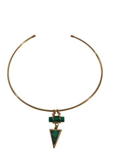 Minimalist chic statement choker necklace with turquoise triangle