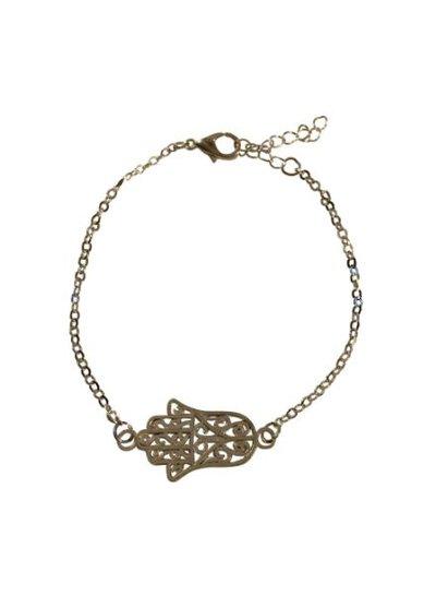 Minimalistische statement armband met buddha hand zilverkleurig