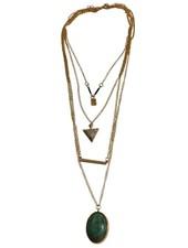Lange minimalistische statement ketting met turquoise steen