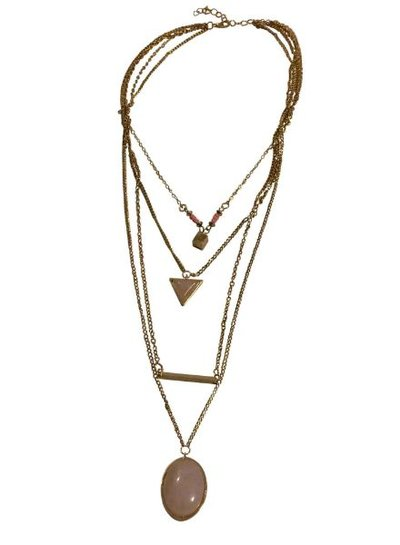 Long minimalistic statement necklace with pink stone