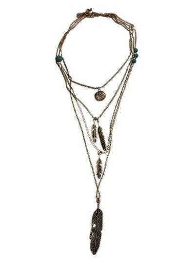 Lange zilverkleurige minimalistische statement ketting met veren